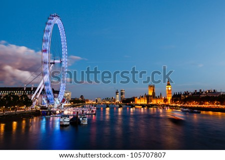 London Eye, Westminster Bridge and Big Ben in the Evening, London, United Kingdom - stock photo