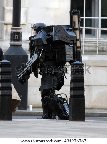LONDON - FEB 2, 2013: Extra filming scenes of All You Need Is Kill on Feb 2, 2013 in London - stock photo