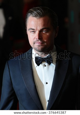 LONDON - FEB 14, 2016: Leonardo DiCaprio attends the EE Bafta British Academy Film Awards at the Royal Opera House on Feb 14, 2016 in London - stock photo