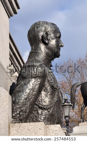LONDON - FEBRUARY 21, 2015. The bust of Sir Andrew Cunningham, a second world war British Admiral, is sited in front of the National Gallery and overlooks Trafalgar Square in central London, UK. - stock photo