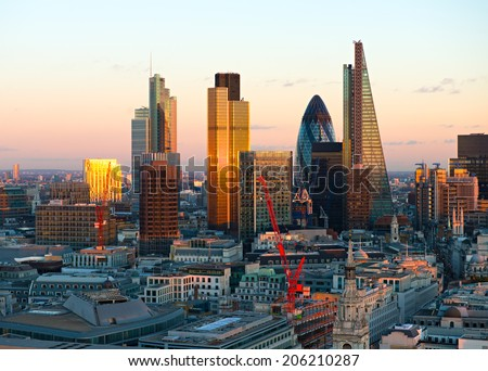 London Financial District City Skyline - stock photo