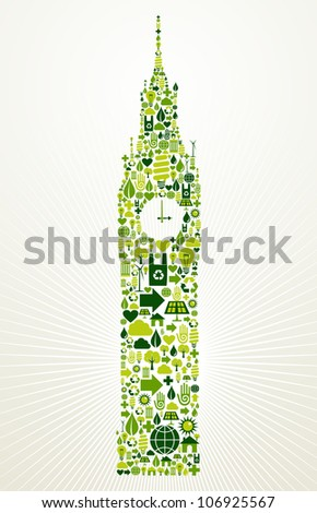 London go green. Eco friendly icon set in Big Ben clock building shape illustration background. - stock photo