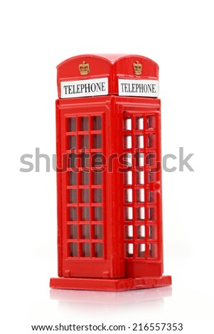 London iconic public telephone miniature - stock photo