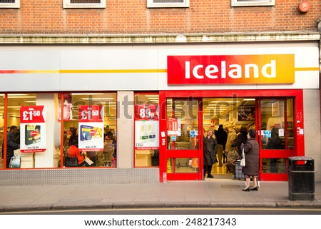 LONDON - JANUARY 23RD: The exterior of an Iceland supermarket on January  the 23rd, 2015, in London, England, UK. Iceland is one of Britain's fastest-growing retailers.  - stock photo