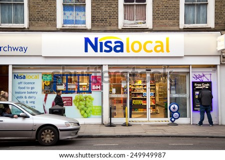 LONDON - JANUARY 27TH: The exterior of Nisa local on January the 27th, 2015, in London, England, UK. Nisa is a ���£1.43 billion turnover company - stock photo