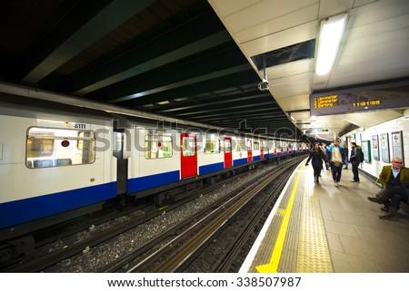 LONDON - JEN 16: London Underground train station on Jennuary 16, 2015 in London. London Underground is the 11th busiest metro system worldwide with 1.1 billion annual rides. - stock photo