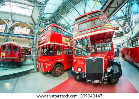 LONDON - JULY 2, 2015: Old double decker buses at transportation museum. These buses are now replaced by the new ones - stock photo