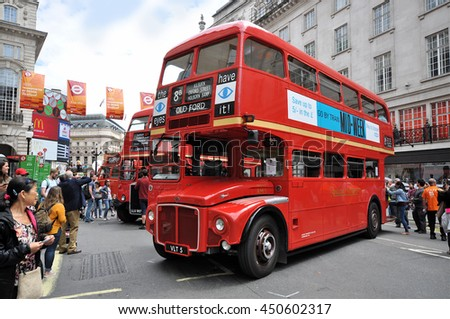 LONDON - JULY 3, 2016. Preserved obsolete double deck buses on show at the one day Transport by Design Festival in Regent Street, central London, UK. - stock photo