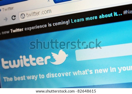 LONDON - JULY 31: Social networking and microblogging site Twitter announces that its 20 billionth tweet has been posted on July 31, 2011 in London, UK. - stock photo