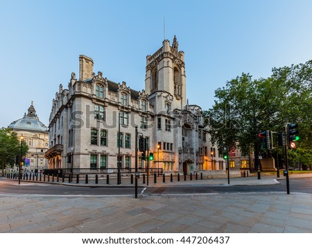 LONDON - JULY 03, 2016 : Supreme Court of the United Kingdom in London at twilight in London. - stock photo