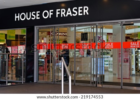 LONDON - JULY 1, 2014: The British department store House of Fraser during the Sale period. - stock photo