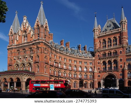 LONDON - JULY 2013: The ornate St. Pancras railway station hotel has been renovated to restore its Victorian grandeur, as seen in London in July 2013. - stock photo