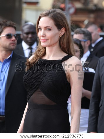 LONDON - JUN 02: Angelina Jolie attends the World War Z world premiere at the Empire Leicester Square on Jun 02, 2013 in London - stock photo