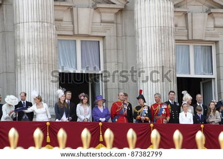 LONDON - JUNE 17: British Royal Family at the terrace of Buckingham palace at the end of Trooping the colour ceremony on June 17, 2006 in London. - stock photo