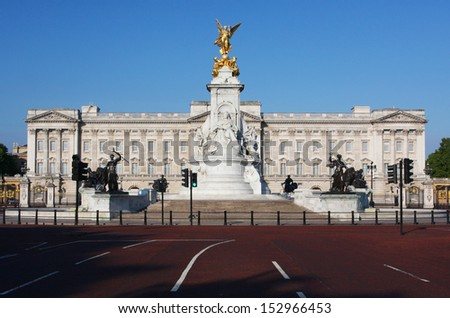 LONDON - JUNE 12: Buckingham Palace in London, England on June 12, 2011. Buckingham Palace is the official London residence of the British monarch. - stock photo