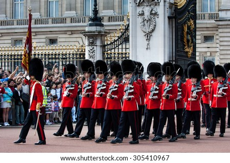 London - June 20, 2006., Changing of the guard at Buckingham Palace - stock photo