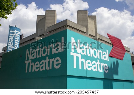 LONDON - JUNE 21. The brutalist concrete National Theatre building, june 21, 2014, on the Southbank, London, UK. - stock photo