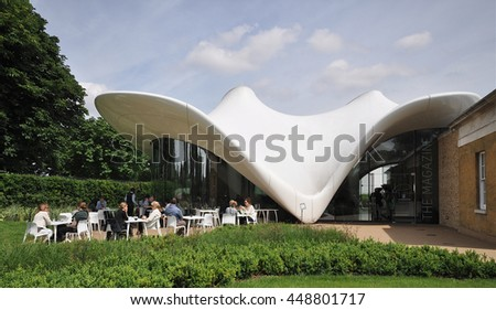 LONDON - JUNE 19, 2016. The Magazine restaurant is an extension to the Sackler Gallery designed by Zaha Hadid Architects, located in Kensington Gardens, London, UK. - stock photo