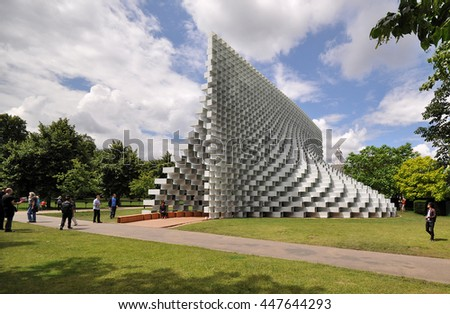 LONDON - JUNE 25, 2016. The Serpentine Gallery summer pavilion is designed by Danish architects BIG (Bjarke Ingels Group) with a structure of hollow fibreglass blocks in Kensington Gardens, London. - stock photo