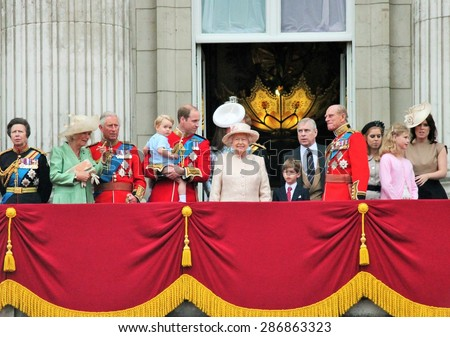 London June 2015- Trooping the Colour ceremony, Prince Georges first appearance on Balcony for Queen Elizabeth's Birthday, June 13, 2015 in London, England, UK - stock photo