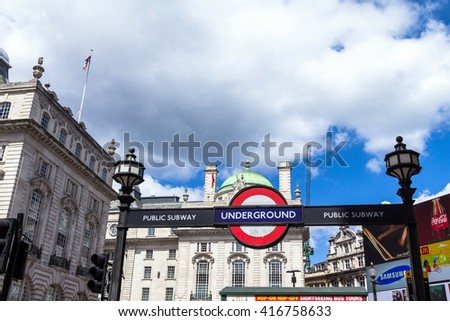 LONDON - JUNE 7, 2015: Underground tube station  sign at Piccadilly Circus, London, UK. - stock photo