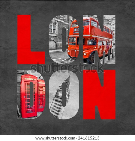 London letters with images on textured black background, selective color red - stock photo