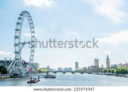 London . London eye, County Hall, Westminster Bridge, Big Ben and Houses of Parliament.  - stock photo