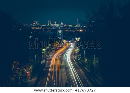 London - Long Exposure - City - Trails - Light Painting - Night - Summer - Lights - stock photo