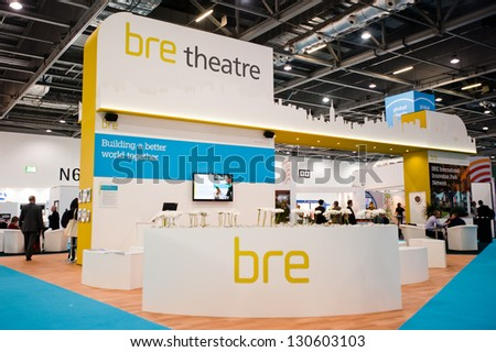 LONDON - MAR 6:  Bre Theatre stand during Ecobuild 2013 at Excel in London, UK on March 6, 2013. Ecobuild is the world's biggest event for sustainable design, construction and the built environment. - stock photo