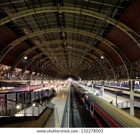 LONDON - MARCH 8: People rushing on Paddington station, one of the oldest and most beautiful train stations of London. London, UK, March 8, 2013. - stock photo