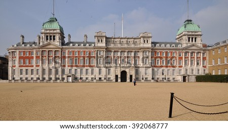 LONDON - MARCH 12, 2016. The Old Admiralty Building on the north side of Horse Guard's Parade, the site of the annual Trooping the Colour, the monarch's birthday and other ceremonies in London. - stock photo