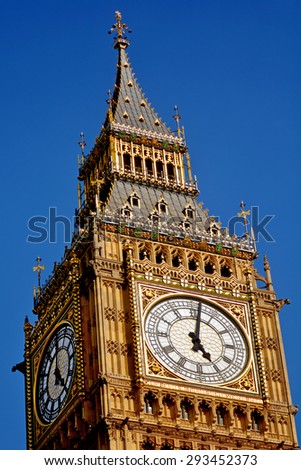 LONDON - MAY 14 2015:Big Ben clock tower. In 2012 - St. Stephen's Tower is renamed Elizabeth Tower in honor of Queen Elizabeth II's Diamond Jubilee, or 60th anniversary on the throne - stock photo