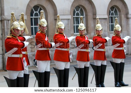 LONDON - MAY 07: Changing of the Guards in Buckingham Palace, on April 13, London 2011, England - stock photo