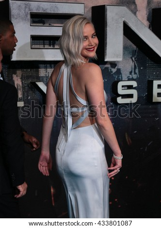LONDON - MAY 9, 2016: Jennifer Lawrence attends the X-Men: Apocalypse - UK fan screening at the BFI IMAX on May 9, 2016 in London - stock photo
