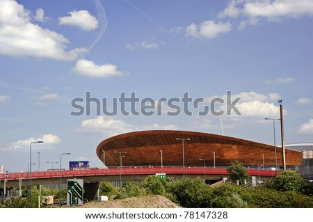 LONDON - MAY 24: London's Olympic velodrome stadium in Stratford East London is  completed three months ahead of schedule for the 2012 Olympics, May 24, 2011 in London - stock photo
