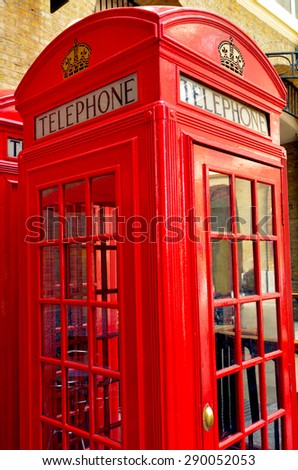 LONDON - MAY 13 2015:One K2 kiosk Red telephone box in London, UK. The K2 kiosk was Britain's first red Telephone Box design in 1924. - stock photo