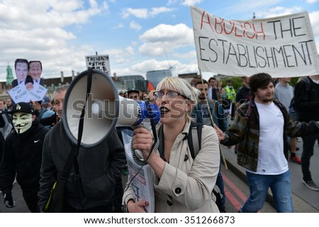 LONDON - MAY 30: Protesters rally against public sector spending cuts following the re-election of the Conservative party on May 30, 2015 in London, UK. The government plan severe austerity cuts. - stock photo