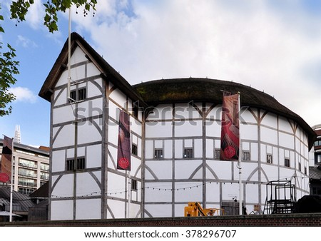 LONDON - MAY 12, 2014. Shakespeare's Globe is a replica of the original 1599 Elizabethan Theatre destroyed by fire in 1613, rebuilt in 1614 and demolished in 1644 at Southwark, London, UK. - stock photo