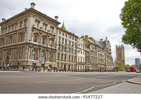 LONDON - MAY 15: Streets near the Houses of Parliament on May 15, 2011 in London, England. The Palace of Westminster lies on the north bank of the River Thames and was rebuilt between 1840 and 1870. - stock photo