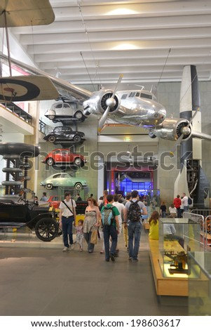 LONDON - MAY 31, 2014: The Science Museum in London was founded in 1857 as part of the South Kensington Museum. - stock photo