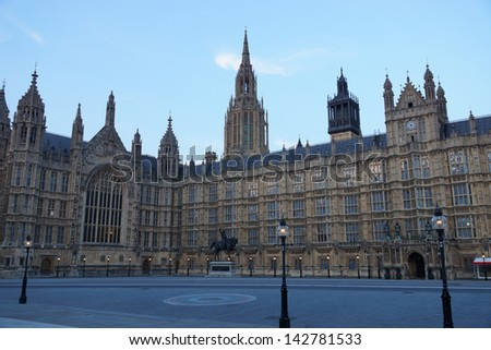 LONDON - MAY 06: View on the Houses of Parliament at evening in London on May 06, 2013, which are also known as the Palace of Westminster. - stock photo