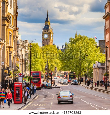LONDON - MAY 03 2009: Whitehall street with Big Ben in the background on May 03 2009 in London. The street has a total distance of about 1 km. - stock photo
