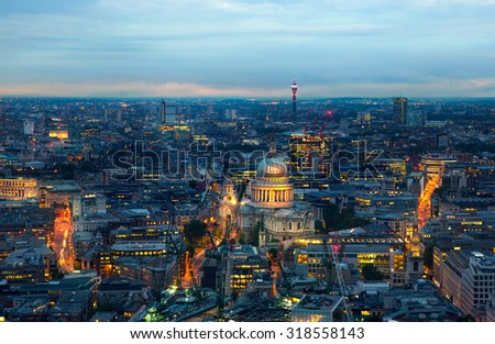 London, night panorama. St. Paul's cathedral - stock photo