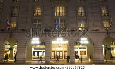 LONDON - NOV 3: The Ritz hotel, 5 star, located in Piccadilly, neoclassical style, built by Charles Mewes, opened on 1906, on Nov 3, 2014, London, UK.   - stock photo