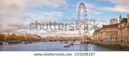 LONDON - november 17 2014: Panorama of London Eye  in London. effect long exposure - stock photo