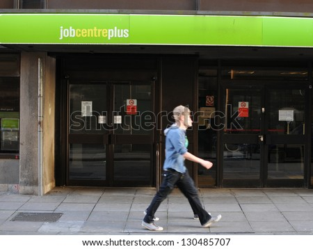 LONDON - OCT 5: Exterior of a Jobcentre Plus as the Office for National Statistics announces unemployment of 2.53M of the population with 1.57M claiming welfare benefits on Oct 5, 2012 in London, UK. - stock photo