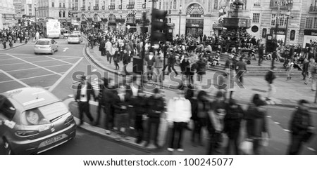 LONDON - OCT 30: View of Piccadilly Circus, road junction, built in 1819, famous tourist attraction, links to West End, Regent Street, Haymarket, Leicester Square, on Oct 30, 2010 in London, UK. - stock photo