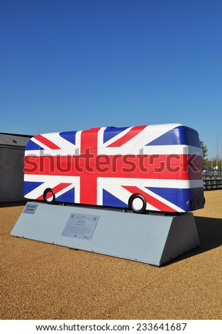 LONDON - OCTOBER 27. London celebrates the importance of its buses with 41 decorative bus models on October 27, 2014; this one painted with the Union Jack flag by Kristel Movahed in east London. - stock photo