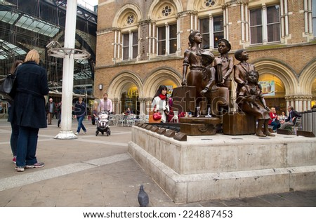 LONDON - OCTOBER 18TH: The Kindertransport statue on October 18th, 2014 in London, england, uk. Kindertransport was a rescue mission for jewish children before the war. - stock photo