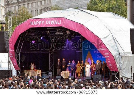 LONDON-OCTOBER 16: The Indian High Commissioner to Great Britain opens proceedings at the Diwali Festival of Light in Trafalgar Square on October 16, 2011 in London. - stock photo
